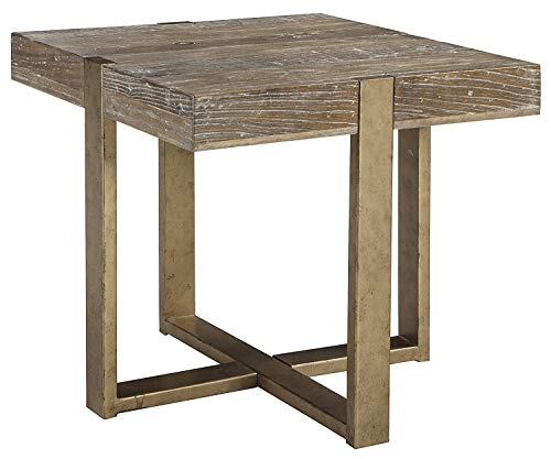 Ashley Furniture Signature Design – Paluxy Casual Square End Table – Light Brown For Sale