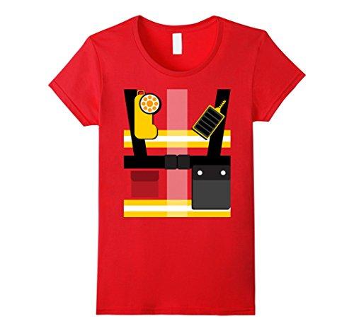 Cute Firefighter Costumes (Womens Cute Firefighter Fireman Halloween Costume T-Shirt XL Red)