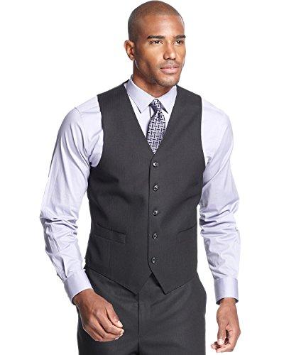 (Sean John Mens Shadow Stripe Lined Suit Vest Black 44S)