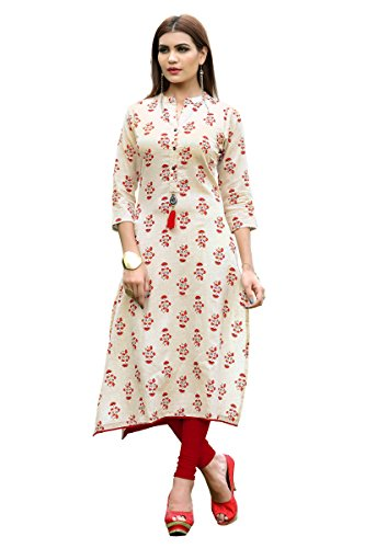ziya Rayon Long/Cowls Kurti Women Dress Printed Kurti for Women Formal & Party Wear 153-7 (White, XL-42)