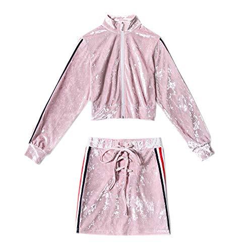Piezas Casuales Manga Chaqueta Mujer Empalme Rayas Mujeres Abrigos Pink Dos Faldas Chandal Largo Chaquetas Verano Con Ropa Cremallera Casual pYpRq7z