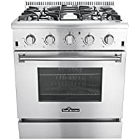 Thor Kitchen HRG3080U 30 Freestanding Professional Style Gas Range with 4.2 cu. ft. Oven, 4 Burners, Convection Fan, Cast Iron Grates, and Blue Porcelain Oven Interior, in Stainless Steel