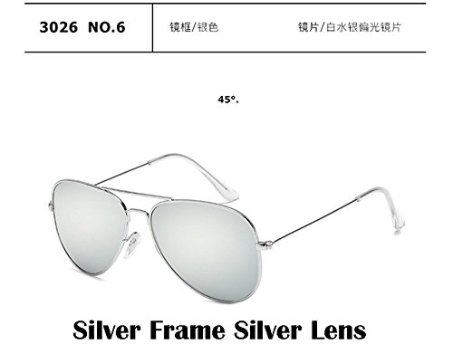 (2017 Fashion sunglasses Men women Large frame Anti-glare aviator aviation sunglasses driving UV400, Silver Frame Silver Lens.)