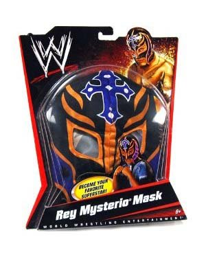 Wwe Rey Mysterio Child Costumes (WWE Wrestling Rey Mysterio Mask - Black, Purple Cross & Orange Trim)