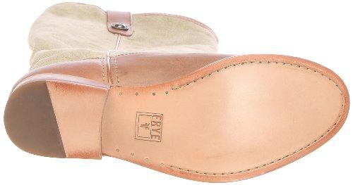 Frye Melissa Button Damen Beige Rund Leder Cowboy Stiefel Neu/Display EU 36,5