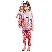 Girls Matching Doll&toddler Giraffe 4 Piece long cotton Christmas Pajamas sleepwear size7t