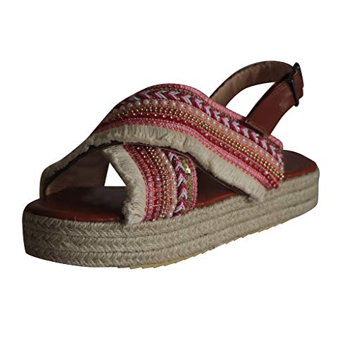 Kiminana Fashion Shoes,Retro Ladies Ethnic Style Thick-Bottomed Muffin with Straw Braided Beaded Tassels Back Sandals Red