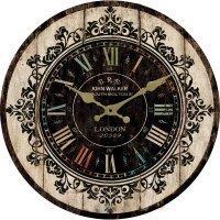 アンティーク風 かっこいい ブラックが基調の 木製掛け時計