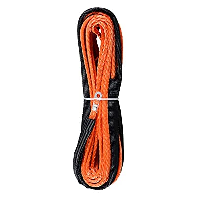 "1/4"" x 50' Orange Synthetic Winch Line Cable Rope 6400LBs+ Sheath Thimble ATV UTV Truck Boat Replacement"