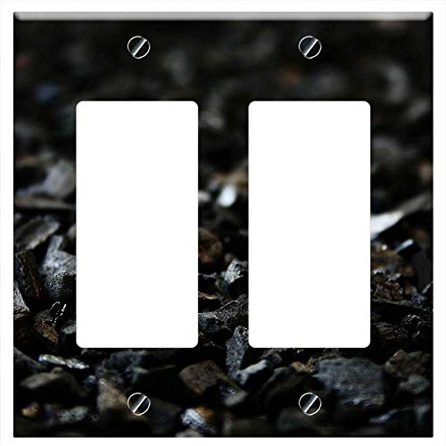 - Switch Plate Double Rocker/GFCI - Carbon Black Charcoal Grill Briquettes Briquettes
