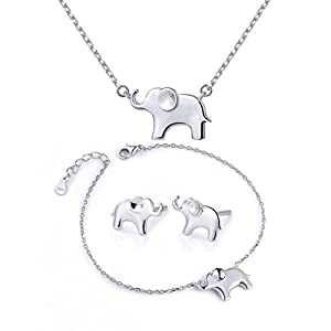 ATHENAA S925 Sterling Silver Lovely Elephant Pendant Necklace Earring Bracelet for Women