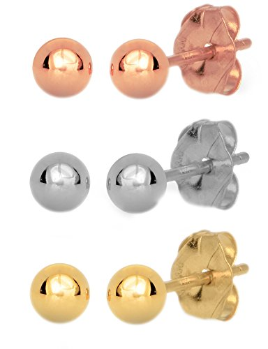 JewelStop 14k Real Yellow White Rose Gold 5mm Ball Stud Earrings 3 Pair Set Friction Backs