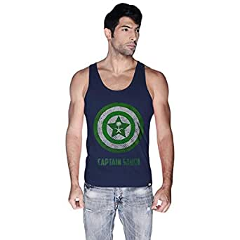 Creo Blue Cotton Round Neck Tank Top For Men
