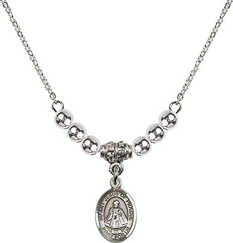 18-Inch Rhodium Plated Necklace with 4mm Sterling Silver Beads and Infant of Prague Charm. Patron Saint of Children/Schools