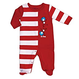 Bumkins Dr. Seuss Footed Sleeper, Red Stripe, 6 Months