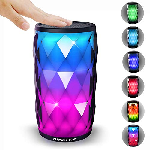 Portable Bluetooth Speakers Touch Control LED Lights 6 Light Modes Wireless Speaker HD HiFi Powerful Sound Built-in Mic,AUX,Hands Free Home Outdoor Wireless Bluetooth Speaker