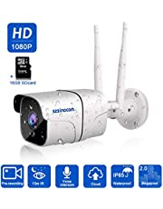 [Updated Version] Outdoor IP Camera,SZSINOCAM HD 1080p Wireless CCTV Security Camera with 2-Way Audio,Motion Detection,Night Vision,Remote View and Cloud Service,Support iOS Android Windows