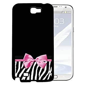 Black Zebra Design on Bottom with Solid Black Top Half and Pink Bow in the Middle Hard Snap on Cell Phone Case Cover Samsung Galaxy Note 2 N7100