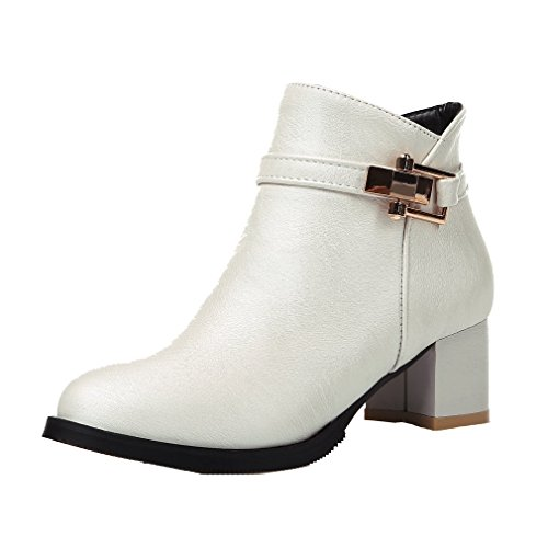 lacencn Women's Casual Mid Heel Platform Boots With Zipper White11.5 B(M) US
