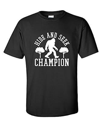 Bigfoot Hide And Seek Champion Sarcastic Novelty Sarcastic Humor Funny T Shirt S Black