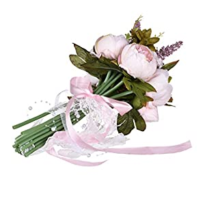 JHFUH Wedding Bouquet Bride Artificial Flower Holding Flowers Fake Flannel Silk Flower Perfect for Wedding Party Home Garden Decoration (Pink) 59