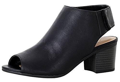 City Classified Women's Harlyn Cutout Peep Toe Stacked Chunky Heel Bootie