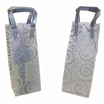 Frosty Plastic Wine Gift / Shopping Bag with Handles by MT Products (Pack of 12)