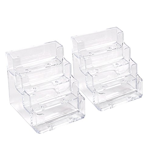 Acrylic Transparent Rack (Acrylic Business Card Holder – 2 Pack Clear Business Card Display Stands for Office Desktop, and Counter, 4 Pockets, Transparent, 160 Capacity Each, 3.8 x 4.3 x 3.8 Inches)