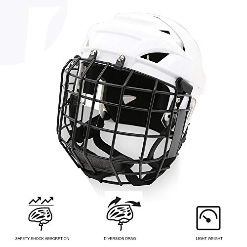 TECHLINK Ice Hockey Mask Helmet Hockey Helmet Steel Combo Cage Strong Impact Resistance Face Mask Protective Gear,M]()