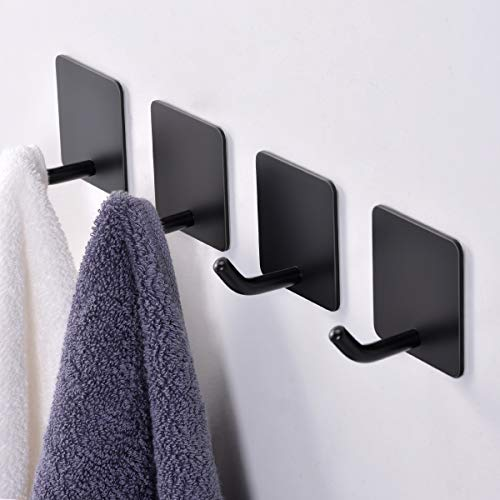 FLE Wall Hook Adhesive,Black Towel Hooks/Coat Hooks with Stainless Steel for Bathroom, Kitchen, Office Stick on Wall (4 Packs)