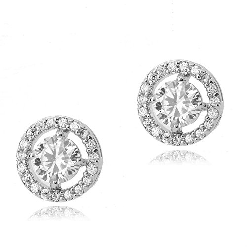 Round Stud Earrings with White Zirconia Crystals 18 ct White Gold Plated for Women and Girls Crystalline CA-AZ-CR-0028