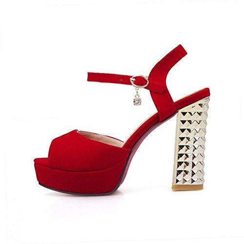 BalaMasa da donna tempestato di strass fibbie metalliche fibbia satinato sandali, Rosso (Red), 35