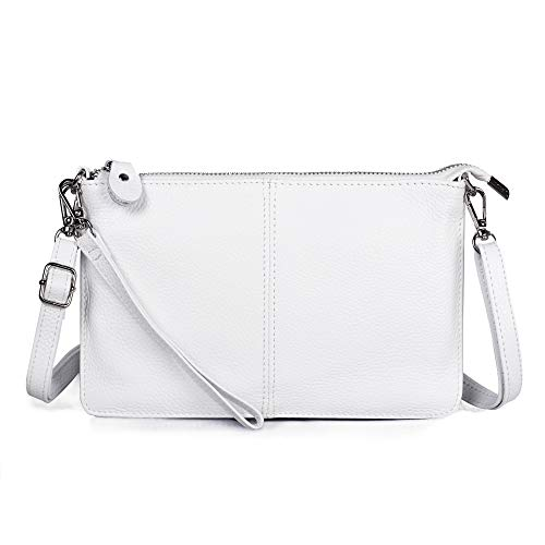 (Befen Women's Leather Wristlet Clutch Wallet Purse, Mini Crossbody Bag - White)