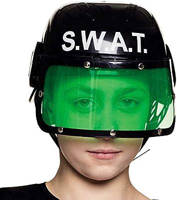NET TOYS Casco de policía S.W.A.T con Visera para niños - Negro ...