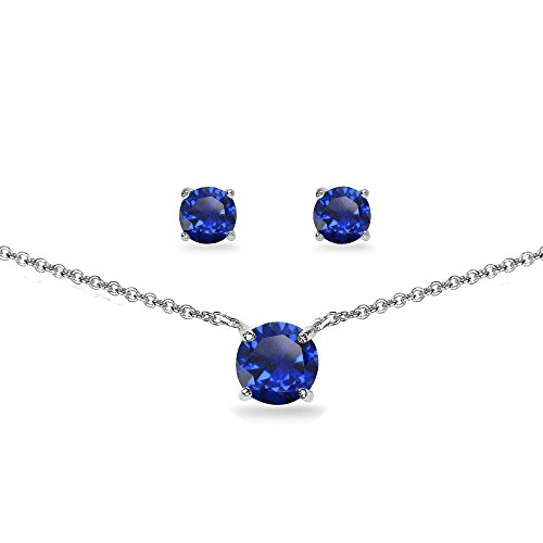 Sterling Simulated Gemstone Solitaire Necklace product image