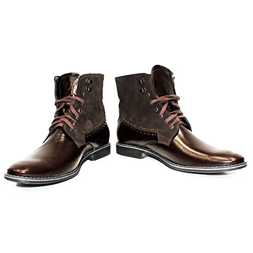 PeppeShoes Modello Cowbino - 13 US - Handmade Italian Mens Brown Ankle Boots - Cowhide Suede - (Italian Handmade Brown Leather Boots)