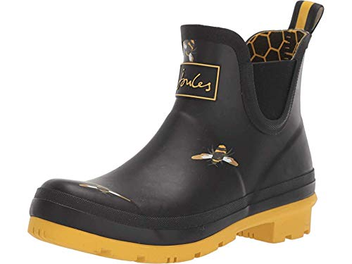 Joules Womens Wellibob 204268 Rain Boot Shoes Black Metallic Bees 10