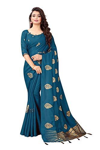 KFGROUP 여성의 자수 사나 실크 사리 인도 민족 드레스 웨딩 사리 블라우스 조각(블루)(공작)