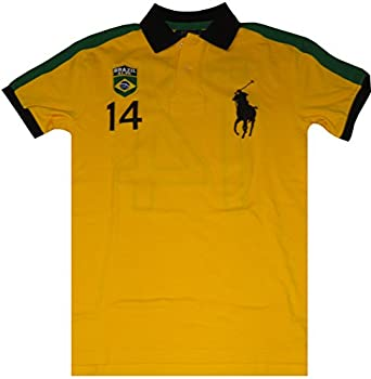 Polo Ralph Lauren Mens Short Sleeve Big Pony Brazil Shirt Yellow, Small