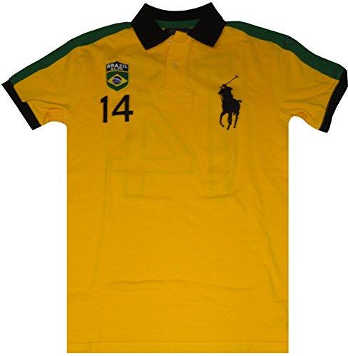 Polo Ralph Lauren Mens Short Sleeve Big Pony Brazil Shirt Yellow, - Lauren Brazil Ralph