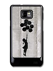 Banksy Balloon Girl fits Samsung Galaxy S2 S2 Plus Case Silhouette print Gray Street Art