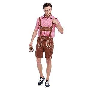 Paniclub Oktoberfest Costume Bavarian Men Toddler Kids Uniform Lederhosen Shorts with Hat