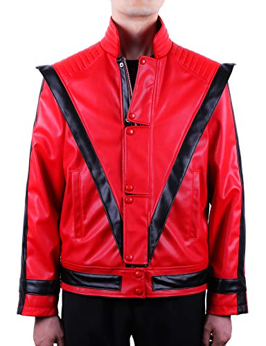 Mjb2c-Michael Jackson Costume Thriller Leather Jacket Adult/Child (Adult Medium, Red) -
