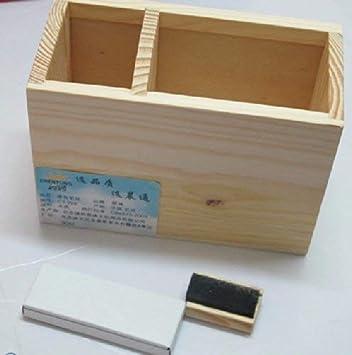 MDD Bolígrafo de madera Pequeño Tablero de mensajes en la pizarra Caja de almacenamiento Pluma de madera Compacto Dormitorio del estudiante Soporte de la pluma de escritorio: Amazon.es: Bricolaje y herramientas