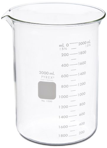 - Corning Pyrex Borosilicate Glass Low Form Griffin Beaker, Graduated, 193mm H, 2000ml Capacity (Case of 8)