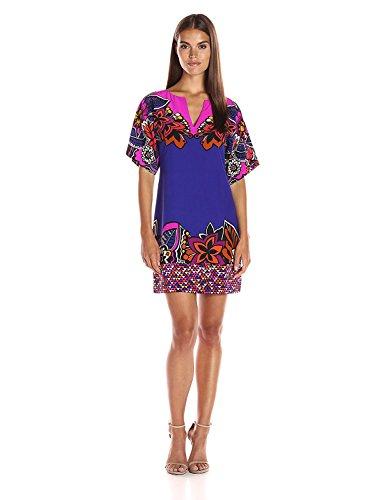 ライター粘液失速Trina Turk Women's Carnival Short Sleeve Silk Dress Multi 4 [並行輸入品]