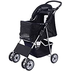 Pet Stroller Four Wheel Cat & Dog Folding Cart Carrier Steel +450D polyester cloth+ EVA Hold up 55 lbs, Black