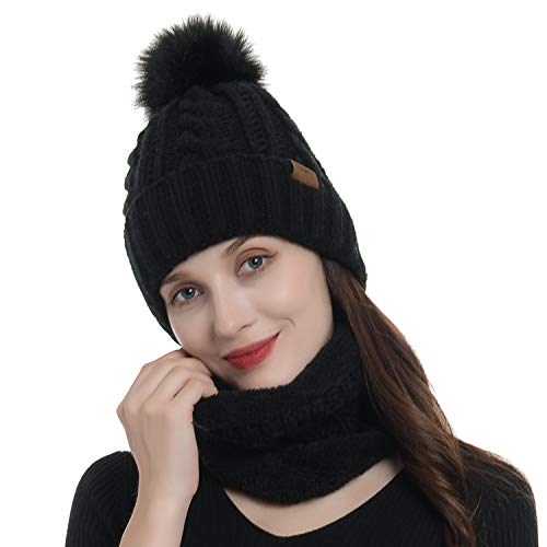 2 Pieces Beanie Hat Winter Scarf Set Pom Pom Knit Skull Cap Cuff Beanie and Circle Scarf for Women
