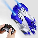 zero gravity remote control car - SGILE Remote Control Car Toy, Rechargeable RC Wall Climber Car for Kids Boy Girl Birthday Present with Mini Control Dual Mode 360° Rotating Stunt Car LED Head Gravity Defying, Blue