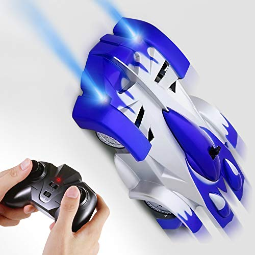 Car Toy, Rechargeable RC Wall Climber Car for Kids Boy Girl Birthday Present with Mini Control Dual Mode 360° Rotating Stunt Car LED Head Gravity Defying, Blue ()